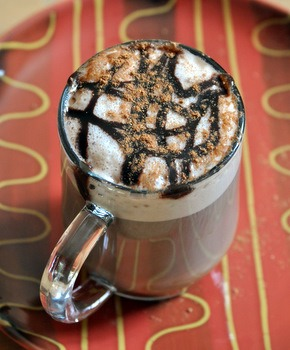 This is a seasonal item, but it's the famous Pumpkin Spice Latte with chocolate syrup. Yum