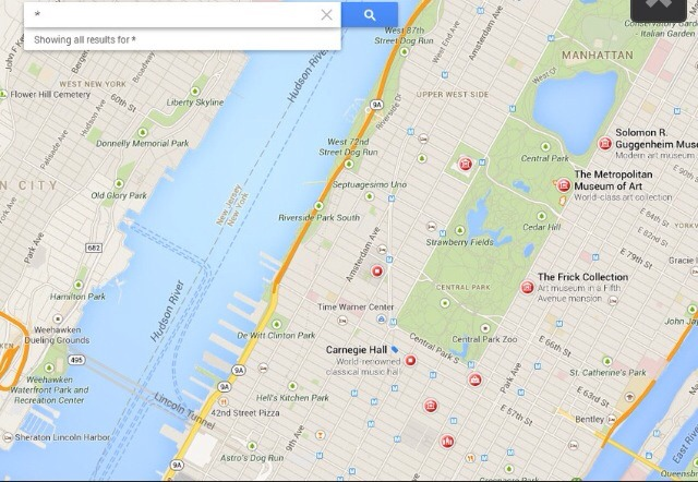 By typing an asterisk into search, Google will select specific attractions in the viewable portion of the map. The selections include museums, restaurants, stores and other sightseeing locales for communities both large and small, even if it only highlights the local Chilis.