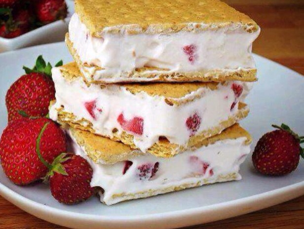 Ingredients -gram crackers  -cool whip -strawberries Detections 1. Blend cool whip and strawberries together  2. Apply a thick coat to a gram crackers and make a sandwich. 3. Freeze, and enjoy!