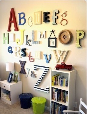 Hang up every letter from the alphabet on your wall. This is a great idea for a kids room!!
