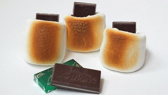 3. Immediately push the unwrapped mints into the top of the warm toasted marshmallow.