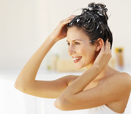 Wash your hair with shampoo and conditioner