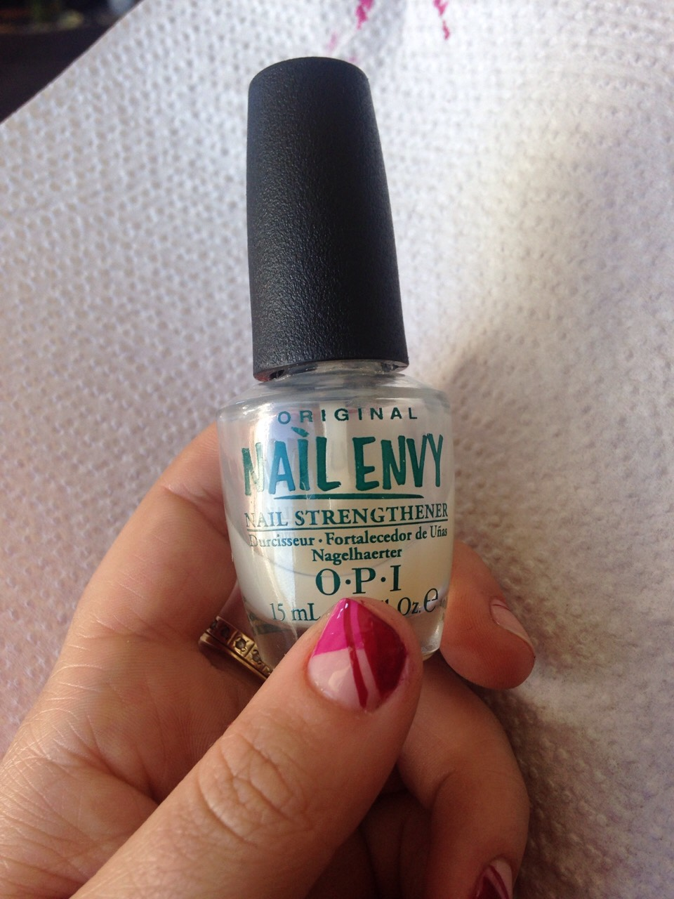 Top and base coat. I cheated and used OPI nail strengthener for both.