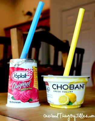 Use straws (big ones work best) to serve your children yogurt!So little mess, and far cheaper than a Go-gurt!! A child can feed themselves without getting yogurt everywhere. It's a great healthy snack that works well in the car. Easy for the driver to eat (suck)!