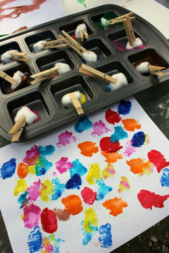 Paint with cotton balls