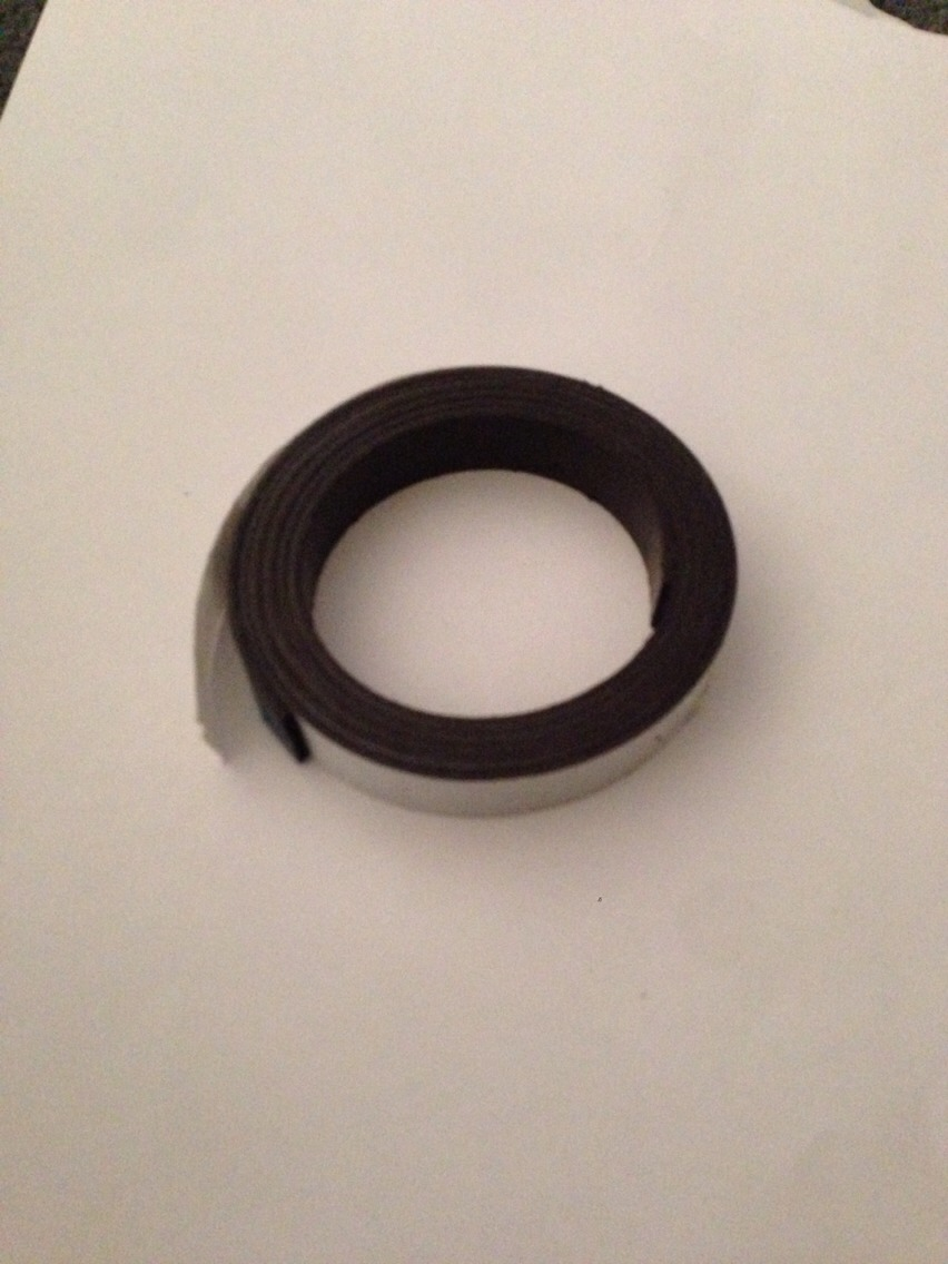 You will also need adhesive magnetic tape. They sell this at any craft store and at places like Target and Walmart.