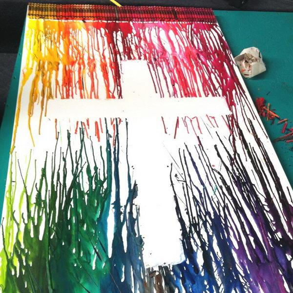 Melted Crayon Art Cross