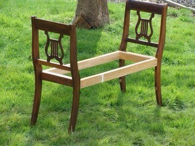 What a great idea. Use 2 old chair backs to create a bench for the end of your bed or use as an entryway bench to put on and take off your shoes! Thanks for looking. Please don't forget to like and follow. Click my profile pic to see all my tips.