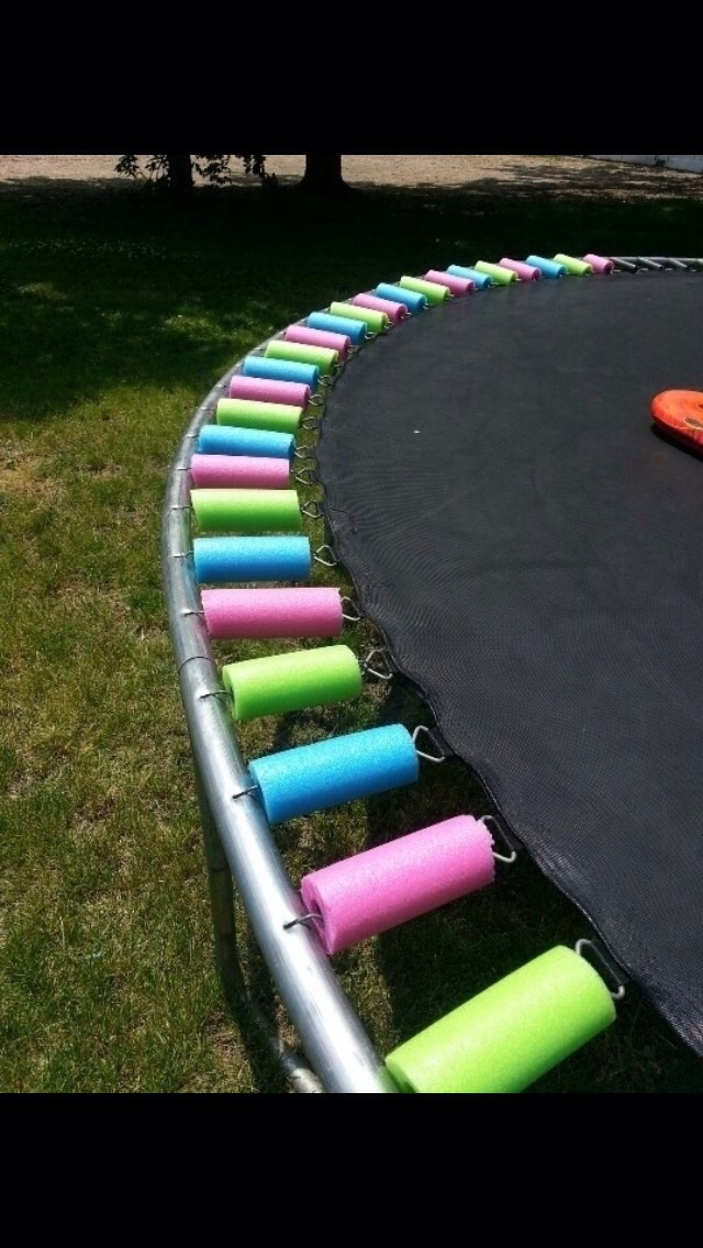Use pool noodles to cover trampoline springs. Just cut to size. Cheap and adds pops of color!!