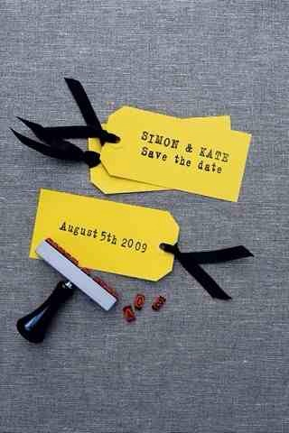13. Simple Luggage Tags  These are very simple DIY save the date cards using gift/luggage tags, ribbons, and stamps.
