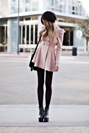 -coat -simple black leggings  -black boots
