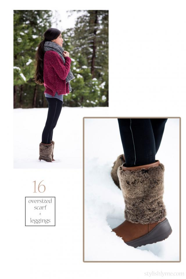 Fur snow boots and knits go hand in hand  You need to stay warm and cozy in the snow so why not pair your very warm snow boots with leggings, a large sweater and oversized scarf. Make sure to wear your hair in a ponytail in case it starts to snow.