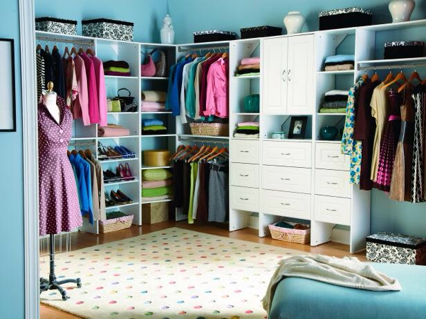 Are you a little obsessed with organizing? We are too. So we thought we'd channel our obsession into something helpful: a list of ways to organize your bedroom closet. Pick and choose from the ideas below.  1. If you don't have any real closets in your home, integrate storage into another room. Wall racks and hangers are easy to install.