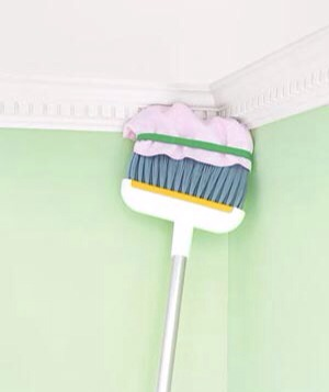 To dust crown moldings, place a microfiber rag over the broom's bristles and secure with a rubber band. Then use the long handle to dust areas that your arms can't reach. No more circus acts (starring you, on a rickety, wobbly stool).