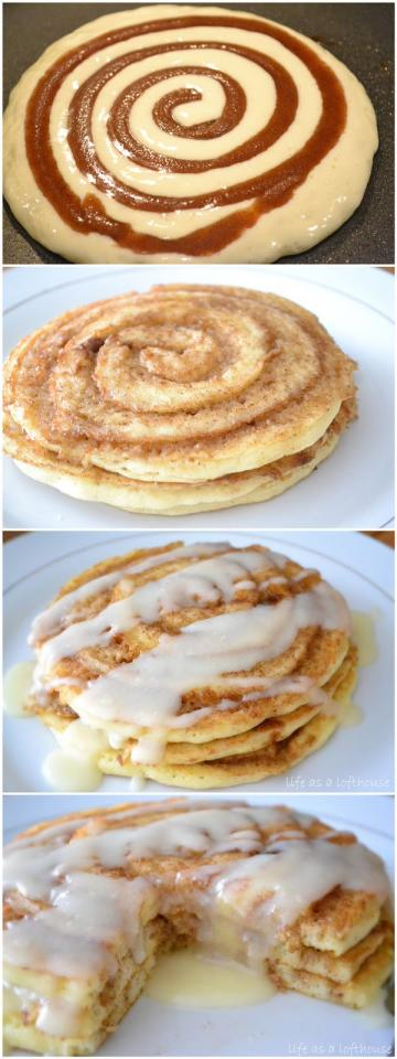 Cinnamon Roll Pancakes - Super Cheap and Easy to make when you don't have a meal plan... and EXTREMELY Delish! Plus you can buy pancake mix at the store instead and use it to make other things like Red Lobster Style Biscuits