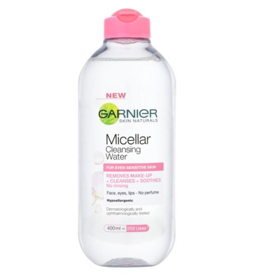 After, I use the Garnier micellar cleansing water to remove any excess dirt/makeup that I may have accidently missed. Squirt a small amount on to a cotton pad and gently smooth over face and neck.  Cost of product = £4.99 from Boots