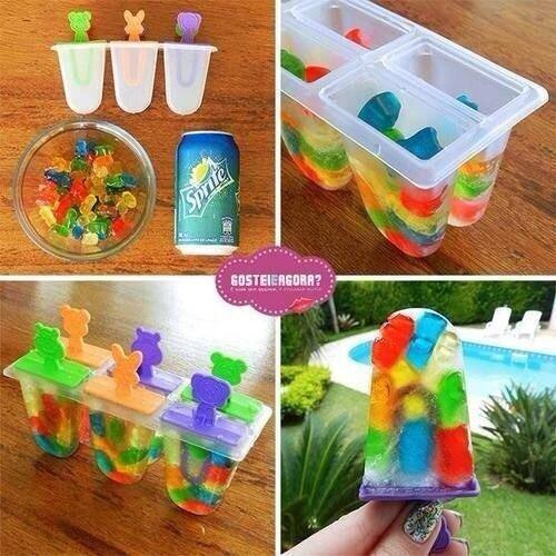 Beat the heat with these awesome Popsicles. Fill up your Popsicle tray with gummy bears about 3/4 to the top. Add sprite til filled freeze and enjoy. Fun for all ages