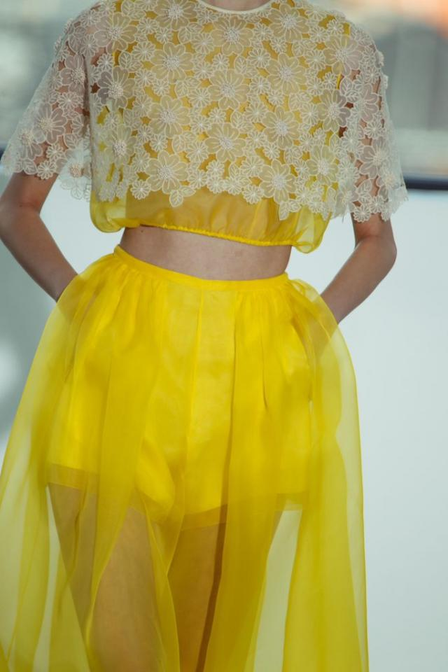A seasonal palette of pastels and floral prints made the return to the runway during Paris fashion—but this time, they're all grown up. This spring, balance out the softness of the season with bright pops of color, strong shapes, and edgy details. Delpozo Spring 2015