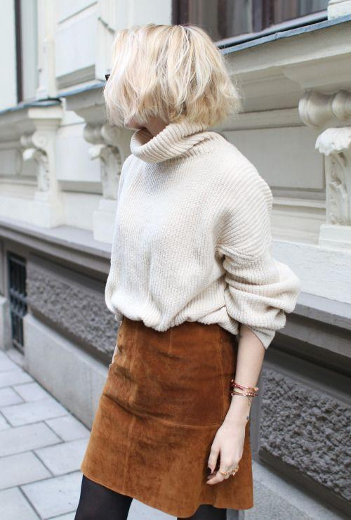Suede: Suede has been in and out of the fashion scene since the 70's, and it's back! Everyone loves a good suede shoe and bag, but recently it's been seen making a statement with mini skirts. Paired with a chunky sweater or boots makes for a great mix of textures.