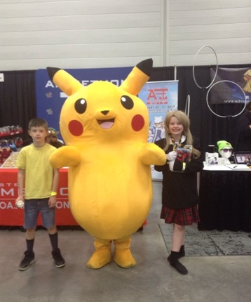 Gene Belcher far left, Pikachu in the centre and Maka Albarn on the right! (Finley is Gene and my daughter Holly is Maka, Pikachu of course is himself)