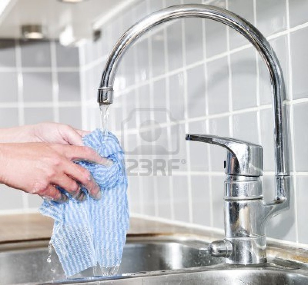 "Take your ""soaking wet"" dish rag and add a drop or 2 of Dish Soap....If you already have soapy water in the kitchen sink - Great! Whatever is easier for you."