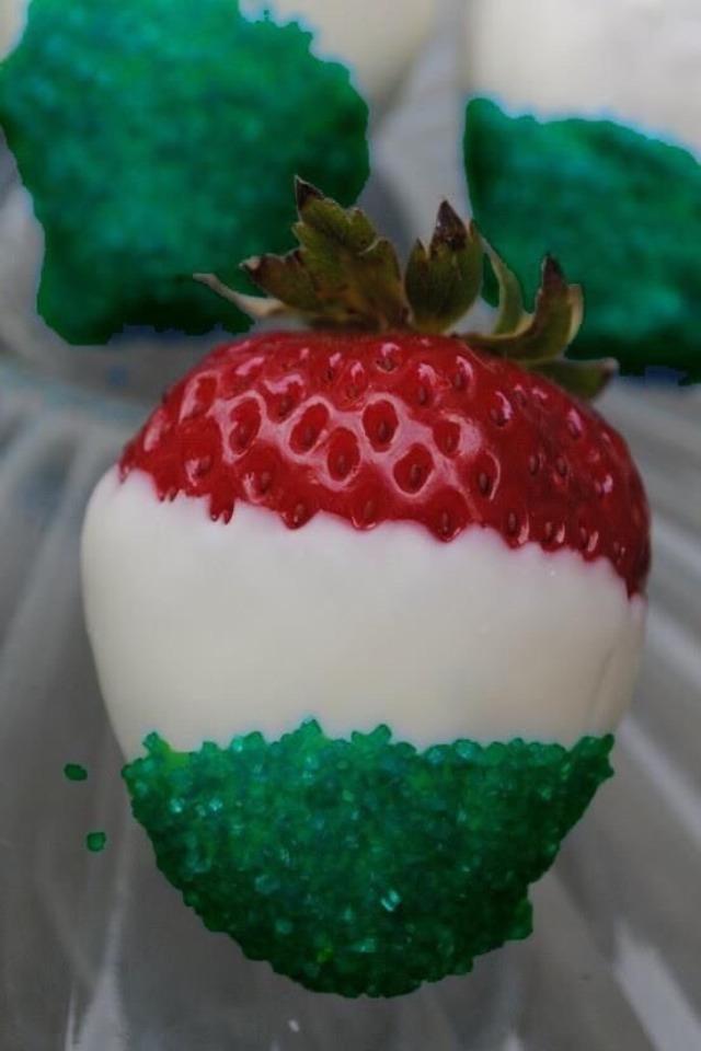Strawberries white chocolate  green sprinkles