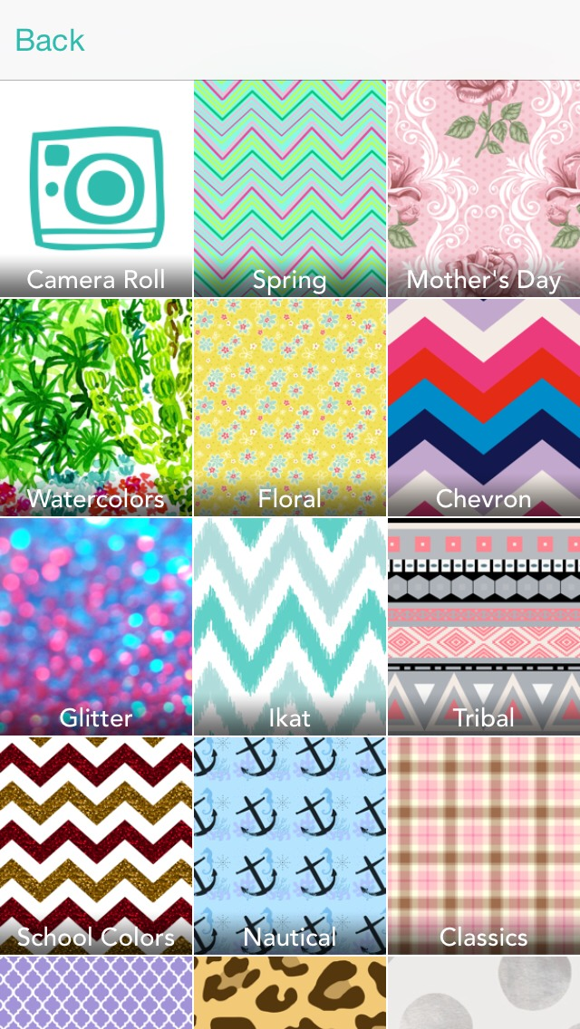 Once the app is loaded, it will come up with a selection of themes. (My fav is the floral bc it has lilly pulitzer prints)