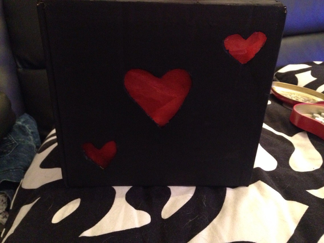 Glue the fabric in place and fill your box with whatever gifts you have chosen for partner/wife/hubby etc
