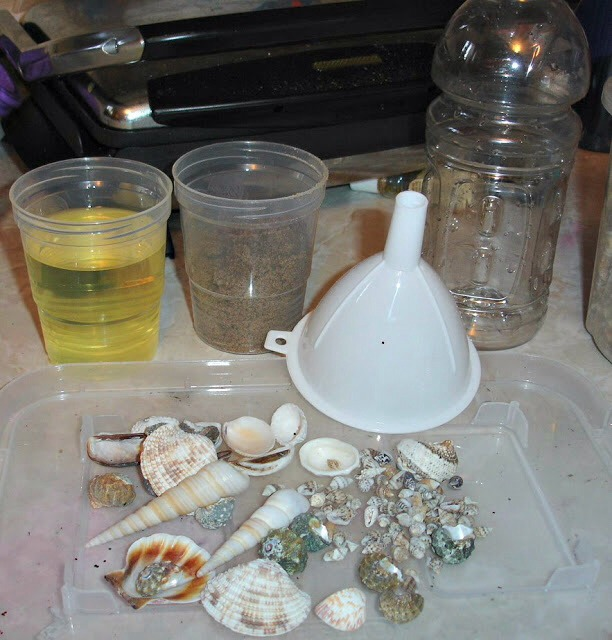 Things you will need.  Olive oil Food colouring blue Sea shells Rocks and sand.