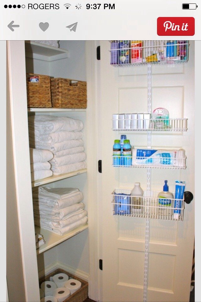 Shelving on the inside of your linen closet doors.