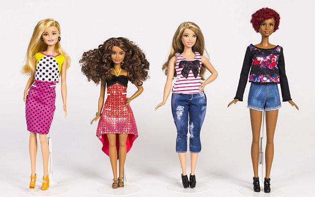 New barbies now come in different skin colours, body types, and body sizes!  This is a great way to show youg girls that everyone is beautiful, no matter what they look like.