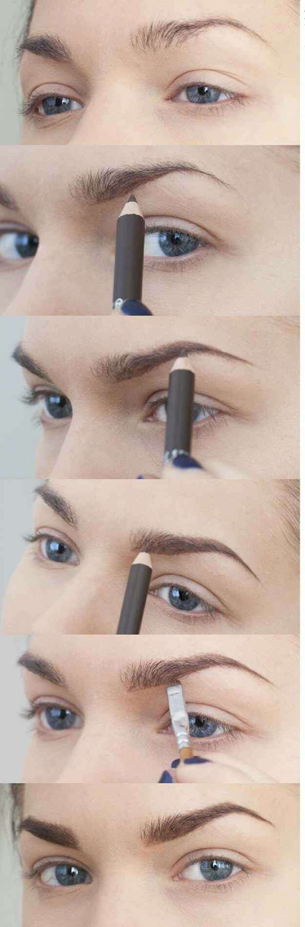 12. Fill in thin brows with a pencil or use brow powder and a brush. Use light, short strokes to mimic your natural eyebrow hairs. Make sure to start light. You can always add more if you need, but it's harder to remove brow product once it's already on the hairs.