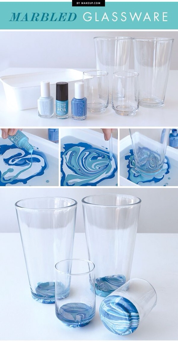 An easy way to make your own marbled glassware!