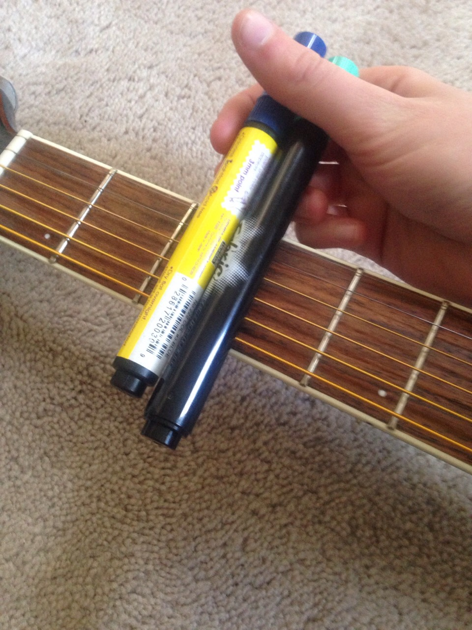 Place however many markers you need on the fret board