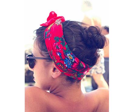 small bun. with a bandana or headband. cutee. for anyday