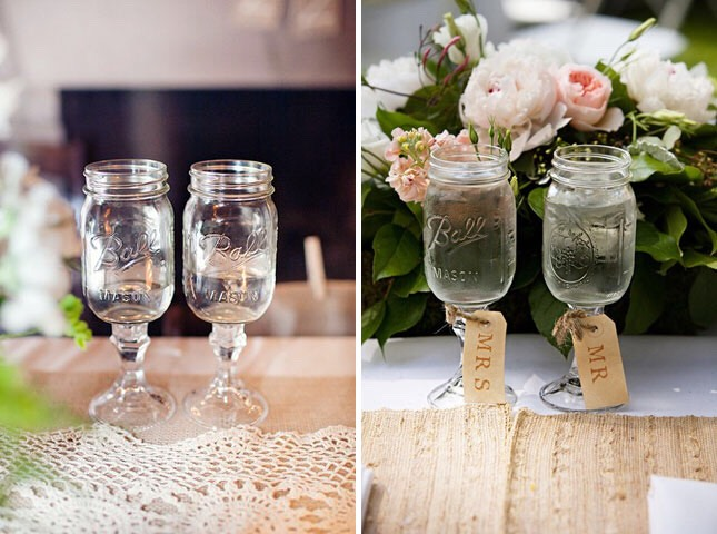 Super cute for a wedding. Use small mason jars and glue them to a fancy candle holder to make your own wine glasses!