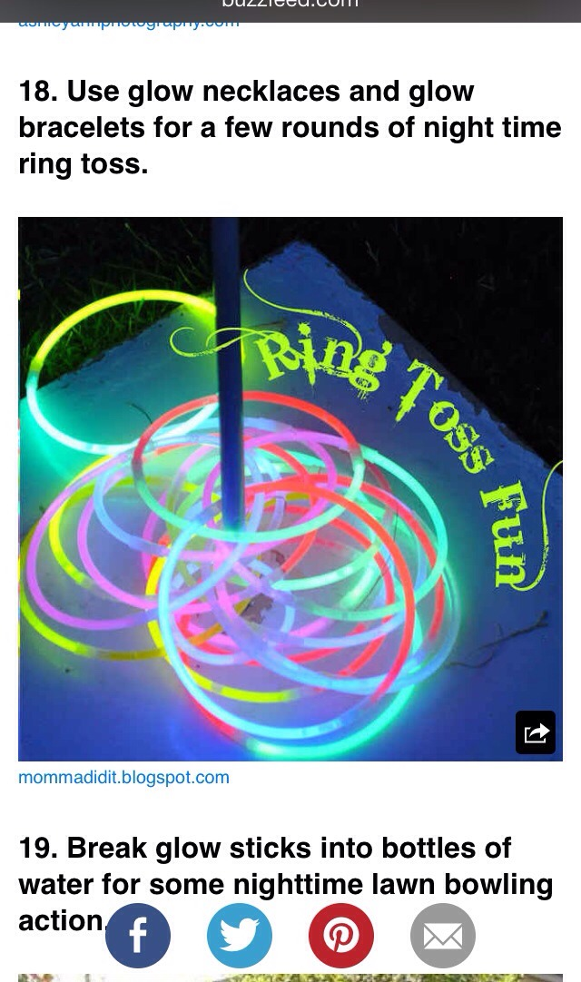 Use glow bracelets or necklaces for nighttime games of ring toss