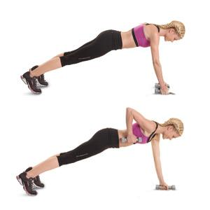 Renegade row: Hold a 3-5-pound weight in each hand. Starting with one arm at a time, pull the weight back into a row movement, engaging the upper back and delts.