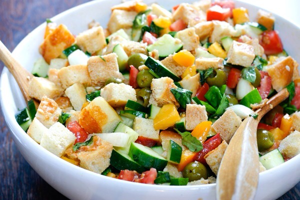 PanzanellaA salad with bread? Count us in! This panzanella recipe includes tons of seasonal veggies and provides a fabulous way to use up your day-old bread.