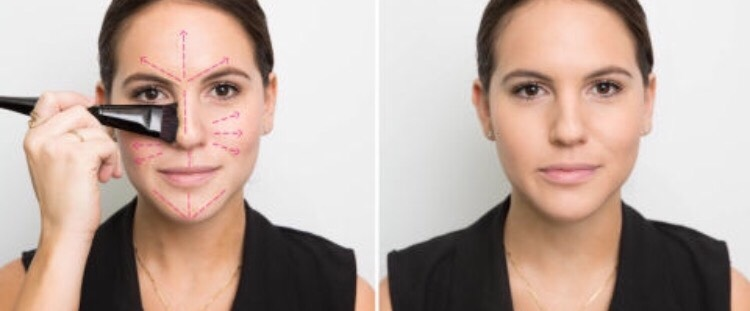 Apply your foundation in the center of your face and blend outwards. It creates a natural look, as the foundationfades a bit as it gets closer to the edge of your face.