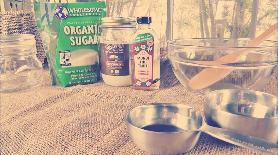 You will need: *Measuring cup *Mixing bowl *Wooden spoon *Coconut oil *Vanilla coconut oil *Sugar *Storage jar
