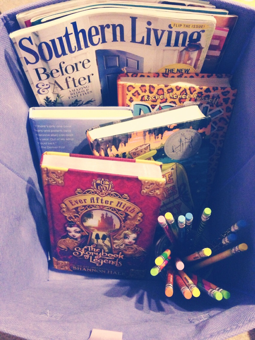 Put some of your favorite books and magazines in a bin and have them next to the place in your room you read most Books:dork diaries  Out of my mind Three times lucky & ever after high