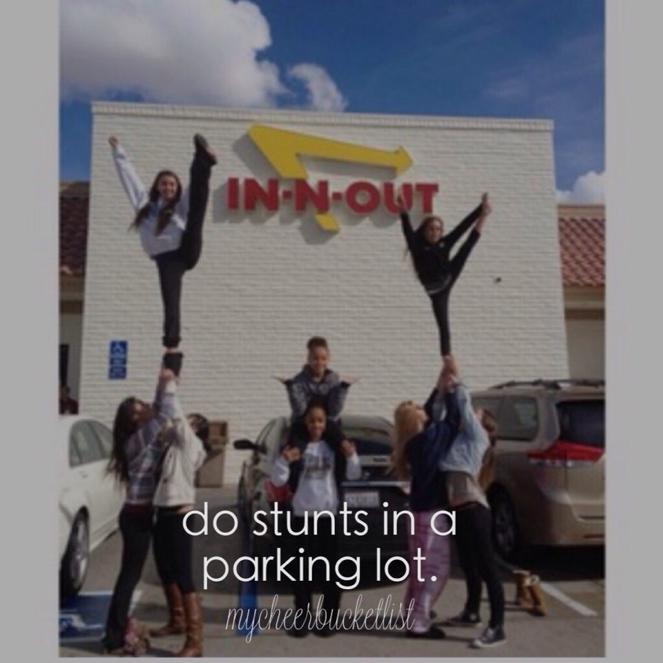 the weirdest place i have stunted was at chick-fil-a with my team before a practice..