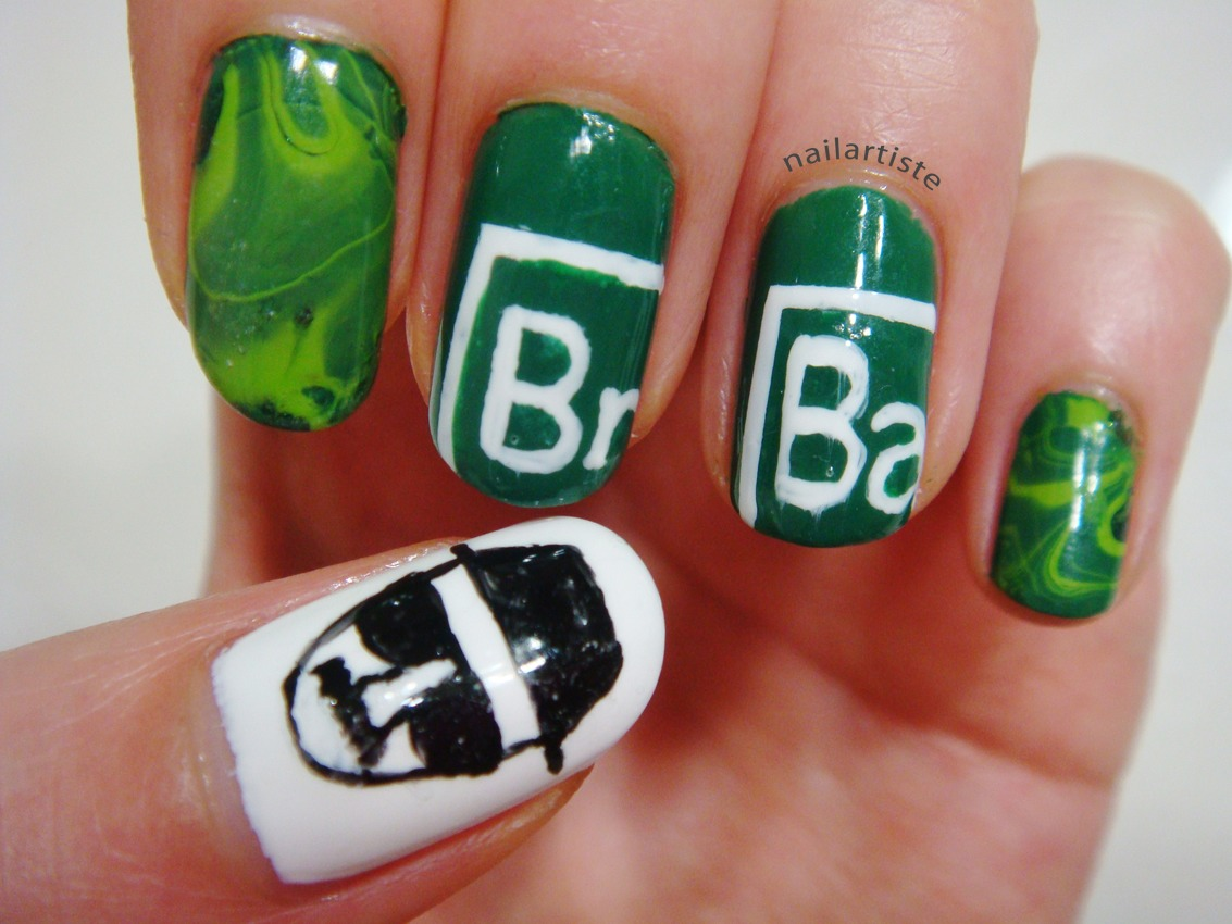 Grab your green, black, and white polish for this one. Mix the white and green to get that perfect light green shade and marbleize the nail to give it that smoky effect. Finish by drawing Heisenberg on your thumb for an awesome Breaking Bad inspired mani!