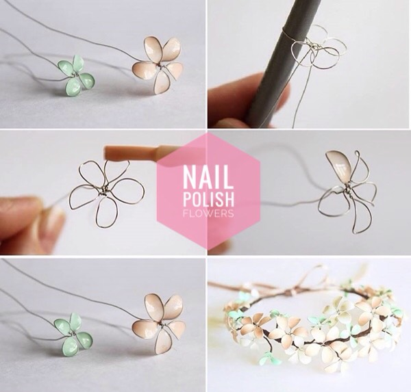 3 | DIY Nail Polish Flowers   It's hard to believe, but these delicate flowers were made with wire + nail polish! Just imagine all the gorgeous crafts you could make with these!