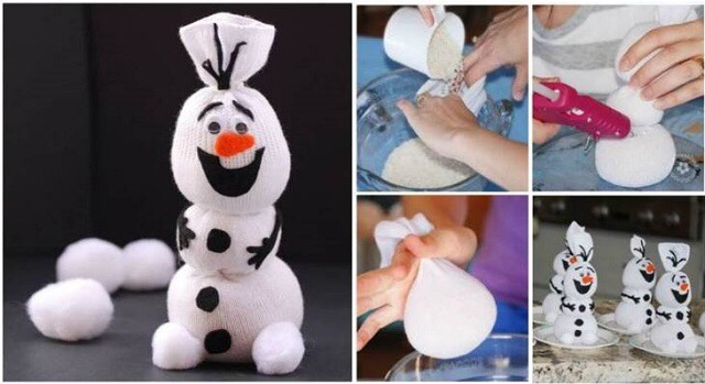 Click on the link to see the instructions http://www.goodshomedesign.com/diy-olaf-sock-snowman/