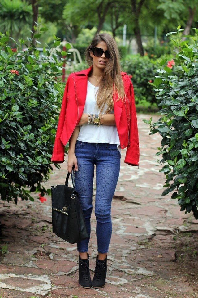 White Tee and Red Jacket