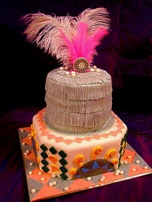 Fancy Hawaii/Island wedding cake