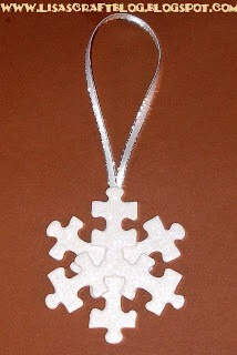 Snowflake: Glue three pieces equally spaced apart to the cardboard circle. Flip it over and glue three more pieces as shown. Loop a piece of thin ribbon and glue to hang.