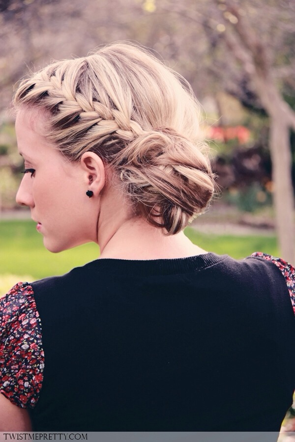 In a hurry? Didn't have time to wash your hair? French braid it back and pull it up into a messy bun. Done!